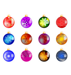 Set of 12 christmas balls vector