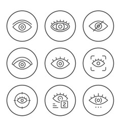 Set round line icons eye vector