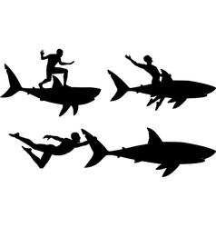 Shark rider vector image