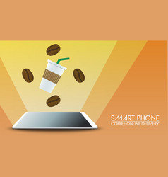 smart phone coffee online delivery on orange vector image