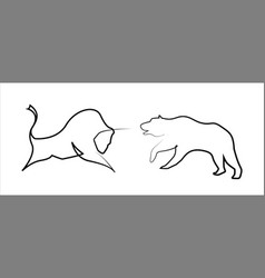 Stock trend bear and bull in one line style vector