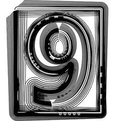 Striped font NUMBER 9 vector