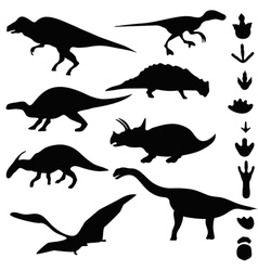 Symbols of dinosaurs and dinosaur footprints vector image