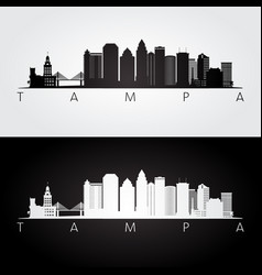 Tampa usa skyline and landmarks silhouette vector