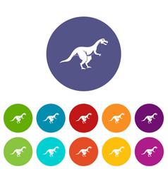 Theropod dinosaur icons set flat vector