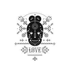 Tribal label with skull vector