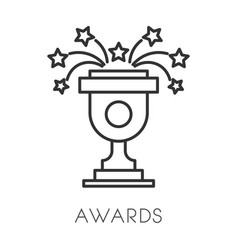 Trophy cup or award isolated linear icon win vector