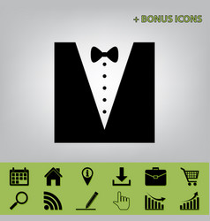 Tuxedo with bow silhouette black icon at vector
