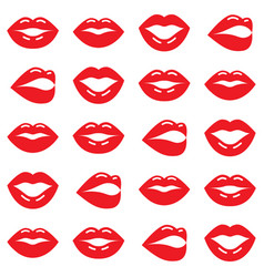 valentines day pattern red lips seamless vector image