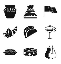 Vino icons set simple style vector