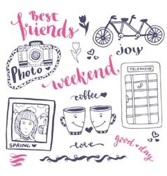 Weekend sketch art romantic set of hand drawn vector image vector image