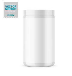 white glossy plastic jar with lid for powder vector image