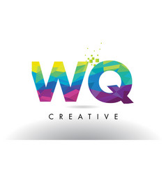 Wq w q colorful letter origami triangles design vector