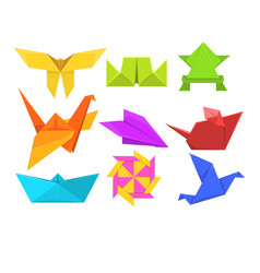 animals origami set geometric paper animals and vector image