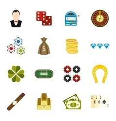 Casino flat icons vector image