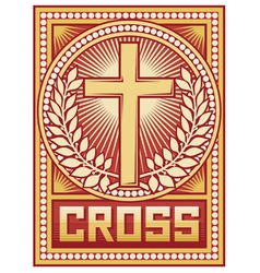 christian cross poster vector image vector image