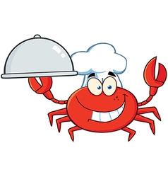 Crab Chef Character Holding A Platter vector image