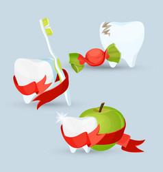 dental care set of images on vector image