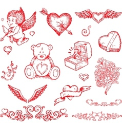 valentines day hand drawn elements vector image