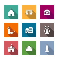 Flat architectural icons vector image vector image