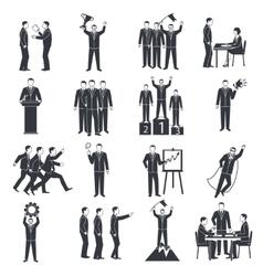 Leadership Black White Icons Set vector image vector image
