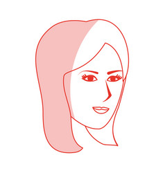 red silhouette shading side profile face woman vector image vector image