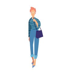 elegant fashion girl in jeans and blouse vector image