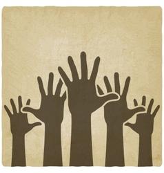 hands up symbol old background vector image