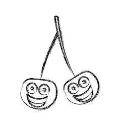 silhouette kawaii happy cherrys icon vector image