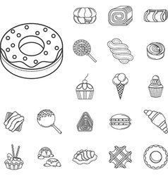 Sweet food flat line icons vector image vector image