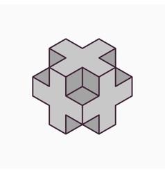3D cube plus design vector image