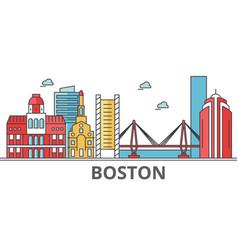 boston city skyline buildings streets vector image vector image