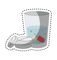 medicine drugs with water glass isolated icon vector image