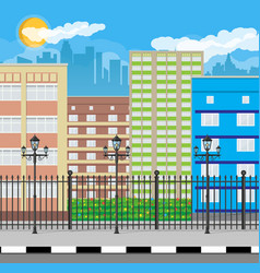 modern city view cityscape with fence and lamp vector image