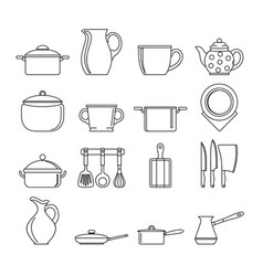set flat black line dishes items vector image