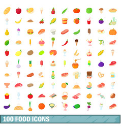 100 food icons set cartoon style vector