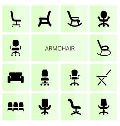 14 armchair icons vector
