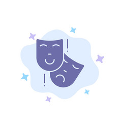 Acting masks persona theater blue icon on vector