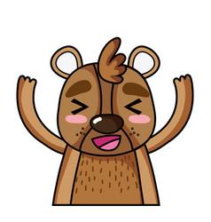Adorable and glad bear wild animal vector