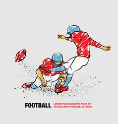 American football kicker hits ball vector