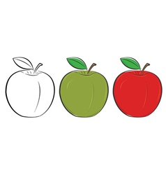 apple outline green red vector image