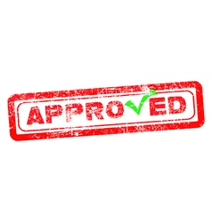Approved red rubber stamp with green check vector image