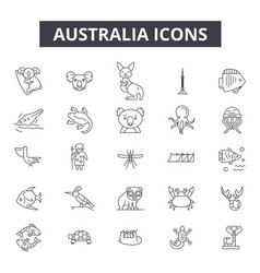 australia line icons signs set outline vector image
