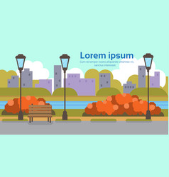 Autumn urban yellow park outdoors river street vector