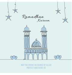 Baby blue ramadhan one line art doodle vector