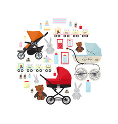 Baby store banner with accessories for newborn vector