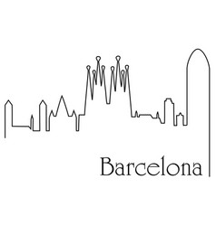 barcelona city one line drawing background vector image