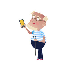 Bearded old man with smartphone and stick vector