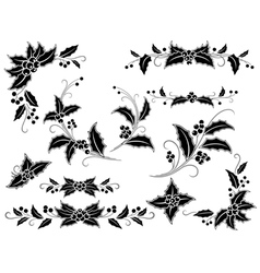 Black and white Christmas holly decoration vector image