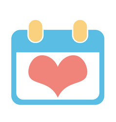 blue calendar for valentine day with heart inside vector image
